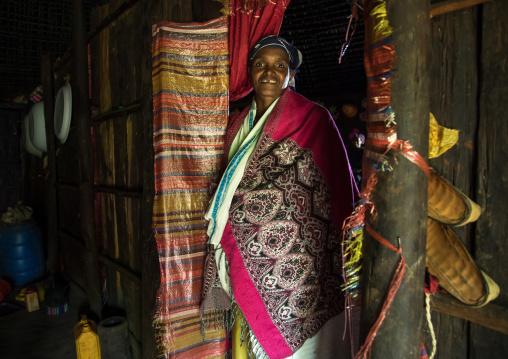 Gurage woman inside her traditional house, Gurage Zone, Butajira, Ethiopia
