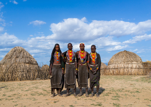 Portrait of Erbore tribe women with black veils and colourful necklaces, Omo valley, Murale, Ethiopia