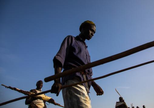 Elders making an agreement during the fat men ceremony in Bodi tribe, Omo valley, Hana Mursi, Ethiopia