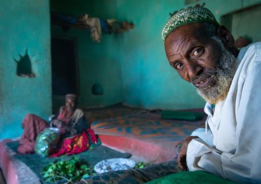 Harari men chewing khat inside an old house, Harari Region, Harar, Ethiopia