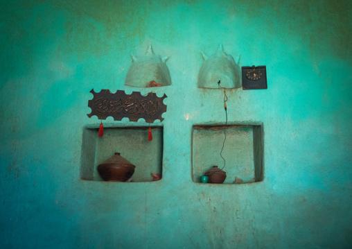 Traditional argoba house wall decoration, Harari Region, Harar, Ethiopia