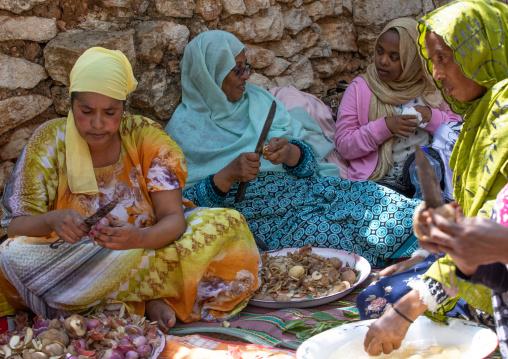 Harari women preparing food for a muslim celebration, Harari Region, Harar, Ethiopia