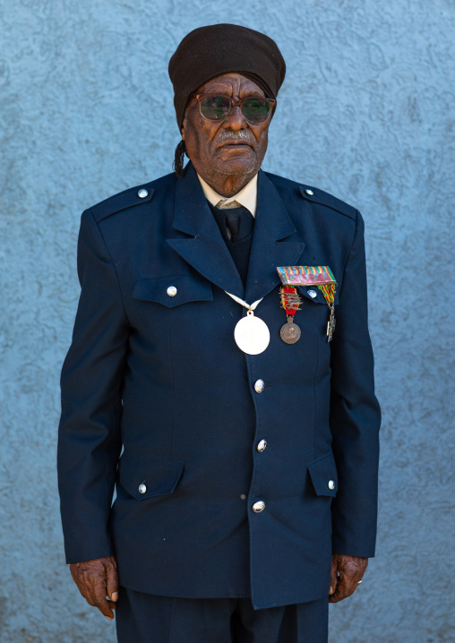 Veteran from the italo-ethiopian war in army uniform, Addis Abeba region, Addis Ababa, Ethiopia