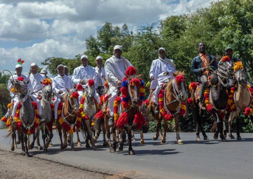 Ethiopian men riding horses on a road during an oromo liberation front party celebration, Oromia, Waliso, Ethiopia