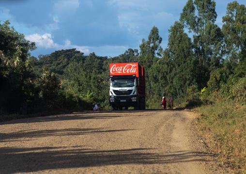 Coca cola truck in the countryside, Oromia, Jimma, Ethiopia