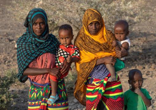 Portrait of an afar tribe family, Afar Region, Afambo, Ethiopia