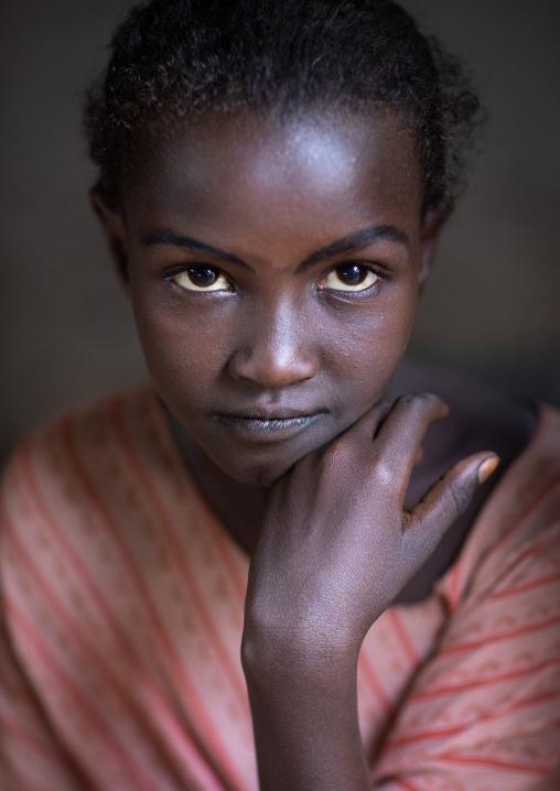 Portrait of an afar tribe girl, Afar Region, Afambo, Ethiopia