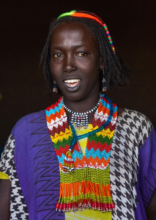 Oromo woman with a beaded necklace, Oromia, Mileso, Ethiopia