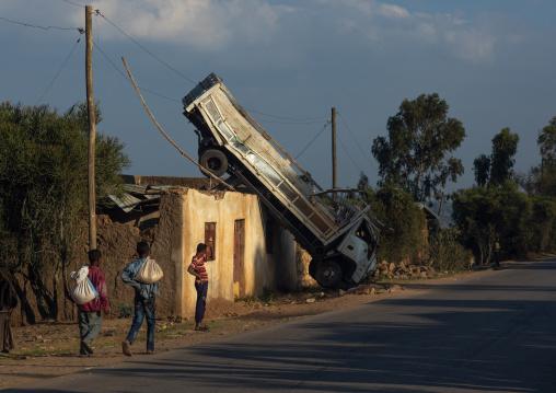Truck accident ialong a road in a village, Harari Region, Harar, Ethiopia