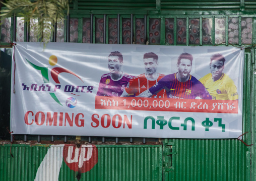 Advertisement billboard for sports betting on a shop, Addis Ababa Region, Addis Ababa, Ethiopia