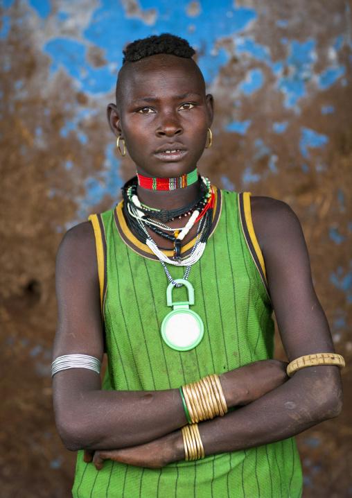 Girl from menit tribe posing, Jemu, Omo valley, Ethiopia