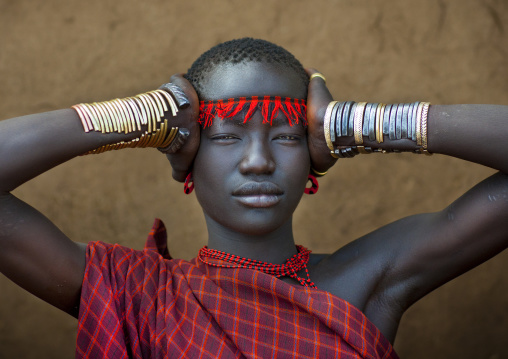 Miss Domoget, Bodi Tribe Woman With Headband, Hana Mursi, Omo Valley, Ethiopia