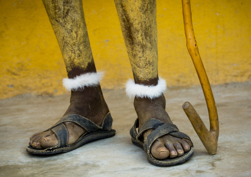 Painted Feet Of A Dassanech Tribe Man, Omorate, Omo Valley, Ethiopia