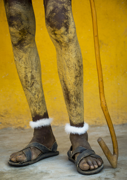 Painted Legs Of A Dassanech Tribe Man, Omorate, Omo Valley, Ethiopia