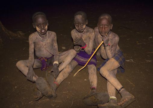Bodi Tribe Children During Night Ceremony Of The Kael, Hana Mursi, Omo Valley, Ethiopia