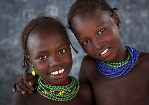 Dassanech Tribe Girls, Omorate, Omo Valley, Ethiopia