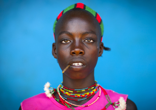 Hamer Young Man With A Stick In His Mouth, Dimeka, Omo Valley, Ethiopia