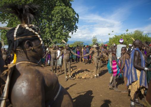 Bodi Tribe Fat Men During Kael Ceremony, Hana Mursi, Omo Valley, Ethiopia