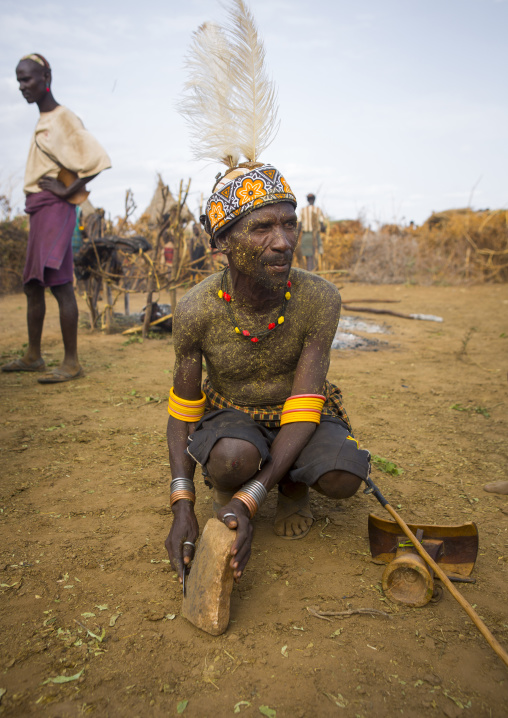 Dassanech Tribe People Sharing Some Meat During A Ceremony, Omorate, Omo Valley, Ethiopia