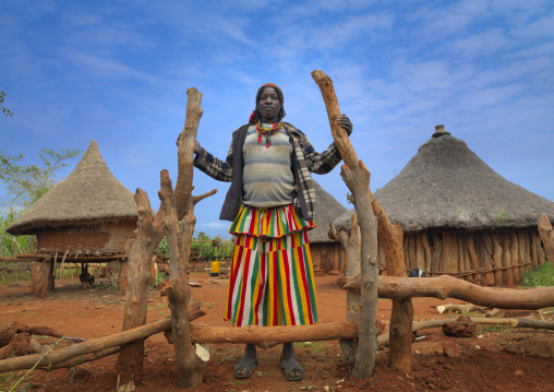 Konso Woman At The Entrance Of Konso Village Houses In The Background Ethiopia