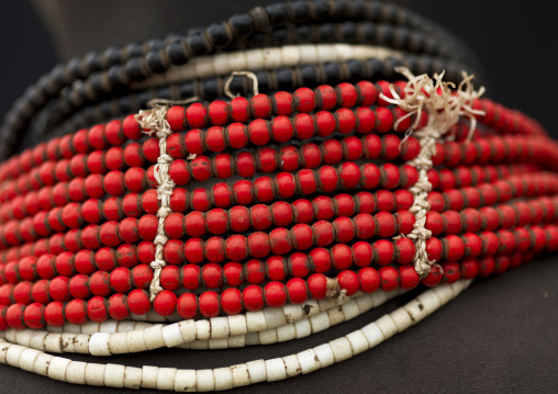 Detail Of Beaded Red Necklace Worn By A Karo Ethiopia