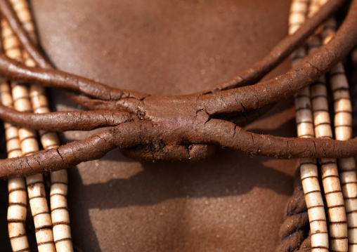 Red Clay Necklace On Hamer Chest Ethiopia