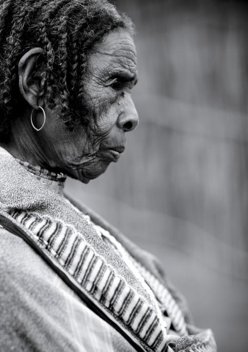 Profile Portrait Of Senior Braided Hair Borana Tribe Woman, Omo Valley, Ethiopia