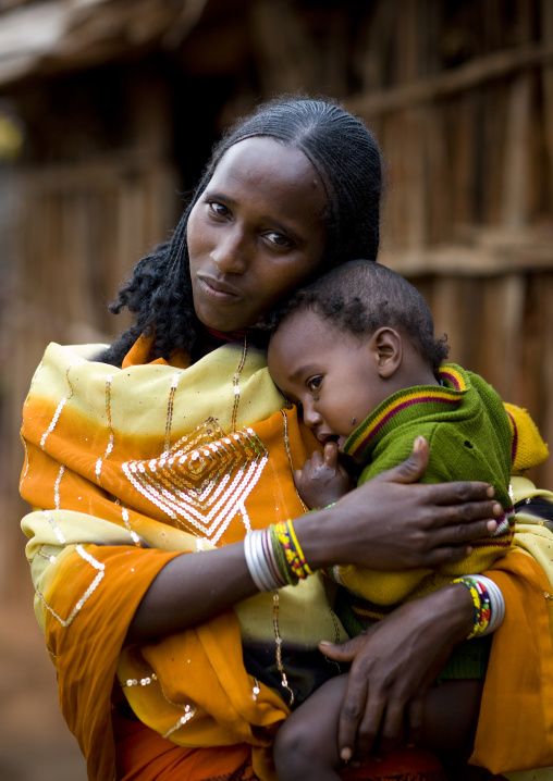 Portrait Of A Borana Tribe Mother Hugging Her Baby, Yabello, Omo Valley, Ethiopia