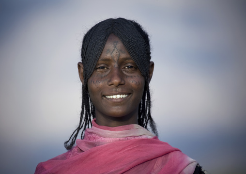 Afar tribe woman with scarifications on her face, Assaita, Afar regional state, Ethiopia