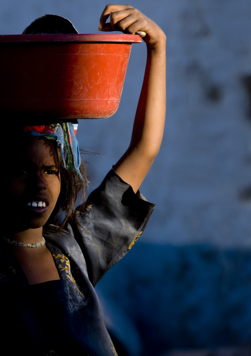 Harari Woman With Bowl On Head, Harar, Ethiopia