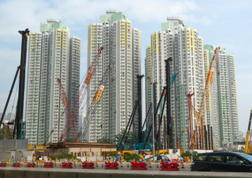 Cranes in front of residential buildings, Special Administrative Region of the People's Republic of China, Hong Kong, China