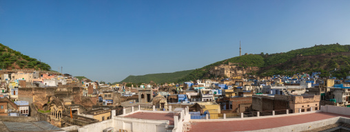 Cityscape with old blue houses brahmins, Rajasthan, Bundi, India