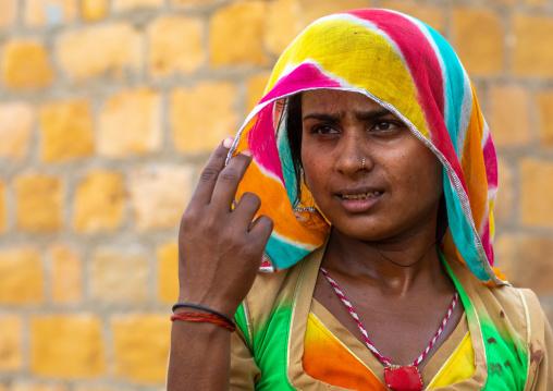 Portrait of a rajasthani woman with a sari, Rajasthan, Jaisalmer, India