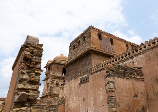 The ruined rana kumbha palace inside the medieval Chittorgarh fort complex, Rajasthan, Chittorgarh, India