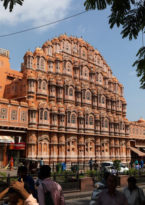 Front of the Hawa Mahal the palace of winds, Rajasthan, Jaipur, India
