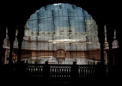 Window with a curtain in Junagarh fort, Rajasthan, Bikaner, India