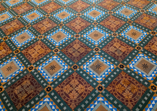 Tiled floor in the Junagarh palace, Rajasthan, Bikaner, India