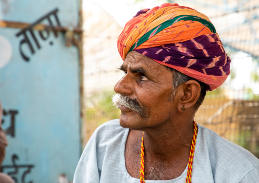 Portrait of a rajasthani man in traditional clothing, Rajasthan, Jaisalmer, India