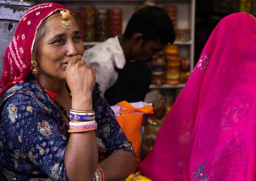 Rajasthani women in a shop, Rajasthan, Jodhpur, India