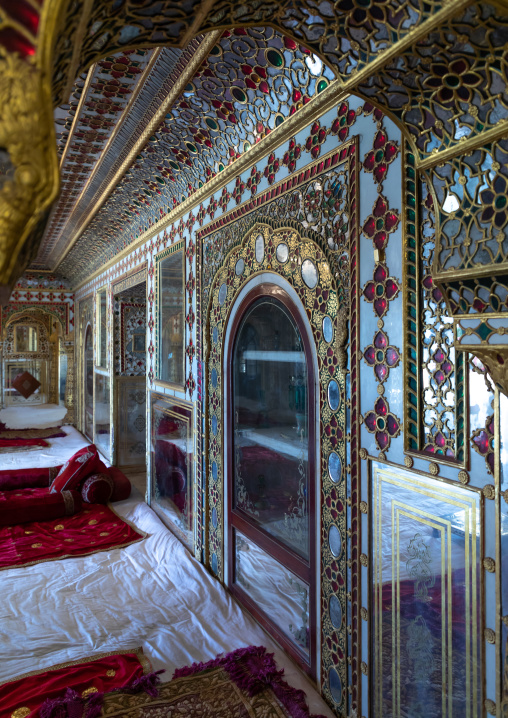 City palace room architecture interior with intricate glass artwork, Rajasthan, Jaipur, India