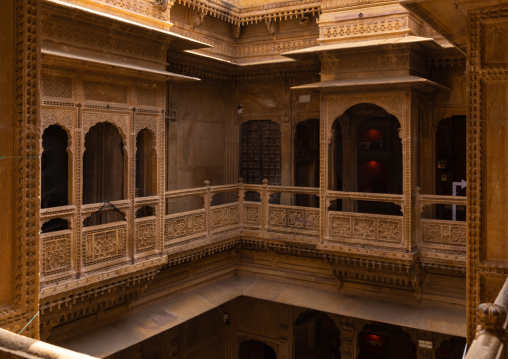 Patwa haveli courtyard and balcony, Rajasthan, Jaisalmer, India