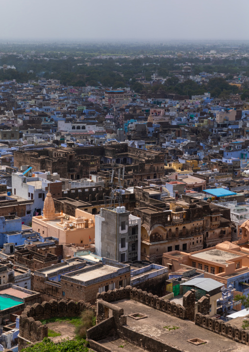 View of the city with the blue brahmin houses, Rajasthan, Bundi, India