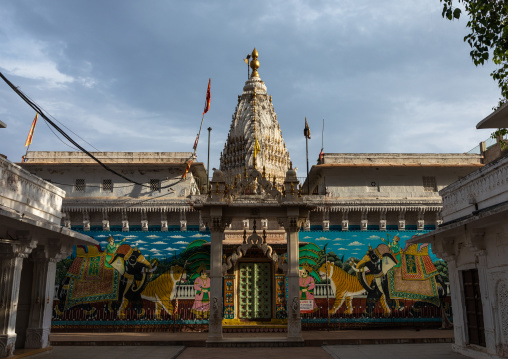 Indian temple with murals depicting tigers, Rajasthan, Jodhpur, India