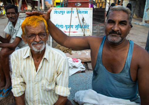 Portrait of a man with ginger hair with a friend, Rajasthan, Jodhpur, India