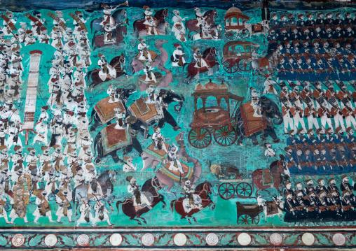 Taragarh fort murals depicting warrior men, Rajasthan, Bundi, India