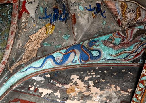 Taragarh fort murals depicting a dragon, Rajasthan, Bundi, India