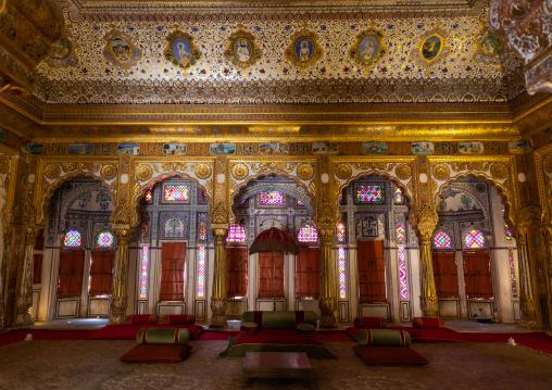 Trone room and royal court of Marwar king in Mehrangarh fort, Rajasthan, Jodhpur, India