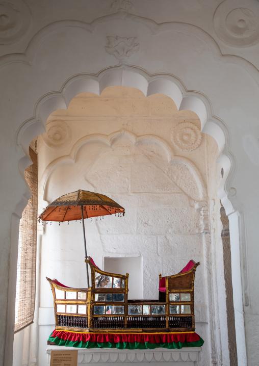 Seats with umbrella in Mehrangarh fort, Rajasthan, Jodhpur, India