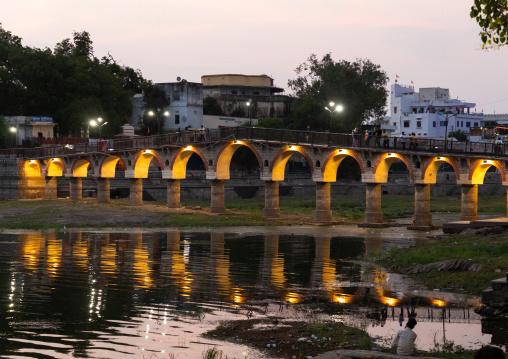 Illuminated bridge on Gangaur ghat, Rajasthan, Udaipur, India