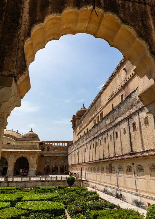 Ornamental garden on terrace at Amer fort and palace, Rajasthan, Amer, India